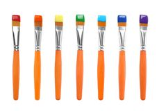 Set of colorful paint brushes. On white background royalty free stock photography