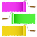 Set of colorful paint roller brush Stock Image