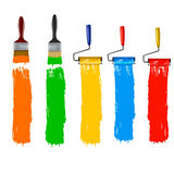 Set of colorful paint roller brushes. Royalty Free Stock Photos