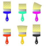 Set of Colorful Paintbrushes Stock Photos