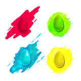 Set of colorful painted eggs Stock Photos