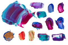 Set of colorful painting smears . Royalty Free Stock Images
