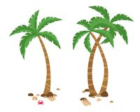 Set of colorful palm tropical trees stock illustration