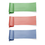 Set of colorful paper banners, vector ribbons with shadow isolated on white Royalty Free Stock Photography