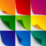 Set of 9 colorful paper curled corners and page Royalty Free Stock Photo