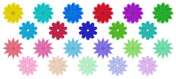 Set of paper flowers. Set of colorful paper flowers with shadows, isolated on white background stock illustration