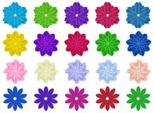 Set of paper flowers. Set of colorful paper flowers with shadows, isolated on white background Royalty Free Stock Images