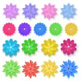 Set of paper flowers. Set of colorful paper flowers with shadows, isolated on white background Stock Images