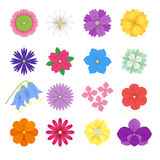 Set of colorful Paper Flowers white background. Vector eps 10 format. Colorful vector paper flowers illustration. 3d origami abstract flower icons.Paper art Royalty Free Stock Photo