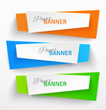 Set of colorful paper origami banners Royalty Free Stock Photos