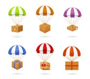Set of Colorful Parachute Carrying Boxes Royalty Free Stock Photo