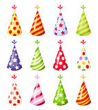 Set of colorful party hats. Vector illustration. Royalty Free Stock Photography