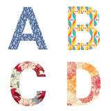 Set of Colorful patterned letters Royalty Free Stock Photography