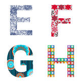 Set of Colorful patterned letters Royalty Free Stock Photo