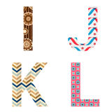 Set of Colorful patterned letters Stock Images