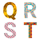 Set of Colorful patterned letters Stock Photos