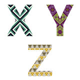 Set of Colorful patterned letters Royalty Free Stock Images