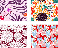 Set of colorful patterns with different flowers. Set of 4 colorful patterns with different flowers Stock Photography