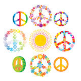 Set of colorful peace symbols Royalty Free Stock Photos