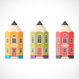 Set of colorful pencil houses Stock Photo