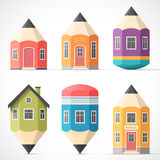 Set of colorful pencil houses Royalty Free Stock Photo