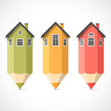 Set of colorful pencil houses Royalty Free Stock Photography