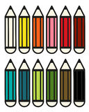 Set of 12 colorful pencils Royalty Free Stock Images