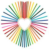 Set of colorful pencils in middle of heart shape Stock Photos