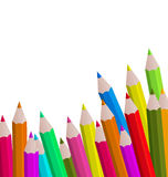 Set colorful pencils on white background Royalty Free Stock Photos
