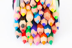 Set of colorful pencils on a white background Stock Photo