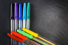 Set of colorful pens for office Stock Images