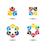 Set of colorful people icons in circle - vector concept school, Royalty Free Stock Photo