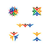 Set of colorful people icons in circle - vector concept school,. Children. this also represents social media community, leader & leadership, unity, friendship Royalty Free Stock Photo