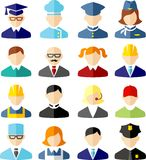 Set of colorful people occupation icons. Occupation avatars in flat colorful style Stock Photography
