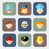 Set of colorful people occupation icons. Occupation avatars in flat colorful style Stock Image