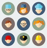 Set of colorful people occupation icons. Occupation avatars in flat colorful style Royalty Free Stock Photography