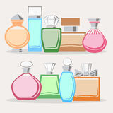 Set of colorful perfume bottles Stock Images