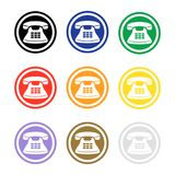 Set of colorful phone icons. Telephone sign round button. Flat vector vector illustration