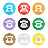 Set of colorful phone icons. Telephone sign round button. Flat vector royalty free illustration