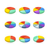 Set of colorful pie diagrams on white Stock Photos