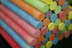 Set of colorful pieces of chalk royalty free stock photos
