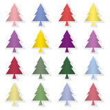 Set of colorful pine trees, pine trees background. Royalty Free Stock Photos