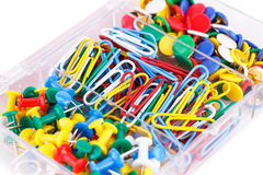 Set of colorful pins and clips Royalty Free Stock Photography
