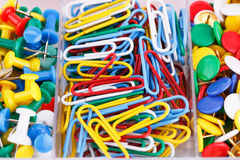 Set of colorful pins and clips Stock Photo