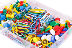 Set of colorful pins and clips Stock Photos