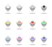 Set of colorful pins. This is a digital drawing of a set of 12 colorful pins Royalty Free Stock Photo