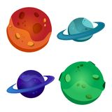 Set of colorful planets,  vector illustration