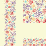 Set of colorful plants seamless pattern and Royalty Free Stock Photography