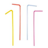 Set colorful plastic bent drinking straws isolated on white Royalty Free Stock Photos
