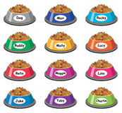 Set of colorful plastic dog bowls, vector. Set of colorful plastic dog bowls with dog food and popular dog names, vector Royalty Free Stock Photography